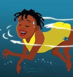 Girl swimming the doggy paddle vector
