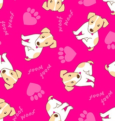 Cute puppy dog with paw hearts seamless pattern vector