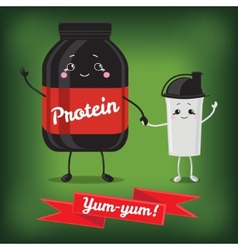 Cute jar sport nutrition and shaker vector