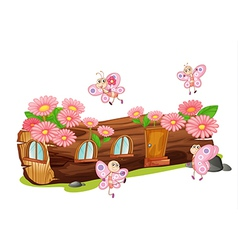 Wooden flower house vector