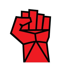 Fist red clenched hand vector