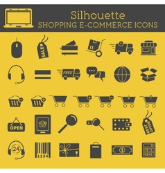 Set of silhouette on-line shopping icons isolated vector