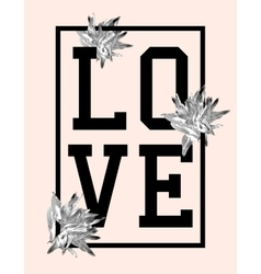 Trendy t-shirt design with word love vector