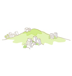 Buildings over green mountain vector