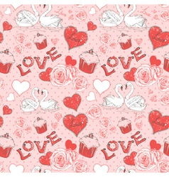 Valentine romantic seamless pattern with hearts vector