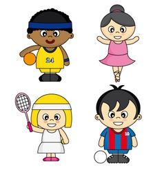 Children dressed as athletes vector