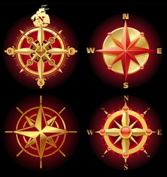 Ancient golden compass rose vector