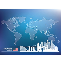 Map pin with singapore skyline vector