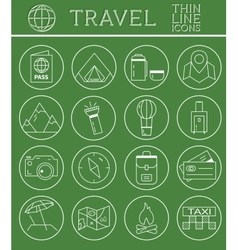 Outlined holidays and travels icon set collection vector