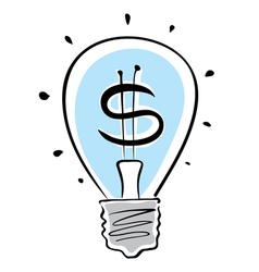 Light bulb with dollar symbol vector