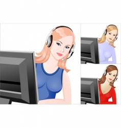 Girl telephone operator vector