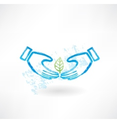 Hands and leaf grunge icon vector