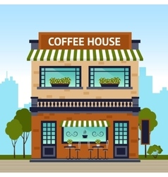 Coffee house building vector