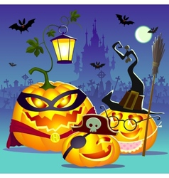 Halloween happy family of pumpkins vector