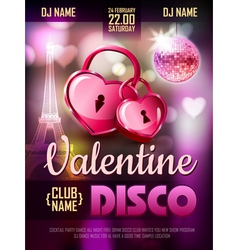 Disco valentine background disco poster vector