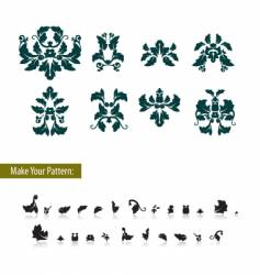 Floral damask leaf element set vector