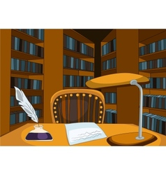 Library room cartoon vector