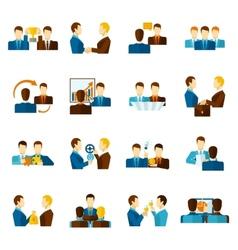 Partnership flat icons set vector