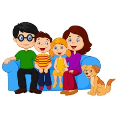 Happy family sitting on sofa vector