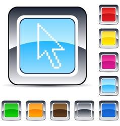 Pixel arrow square button vector