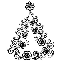 Christmas tree abstract floral pattern vector