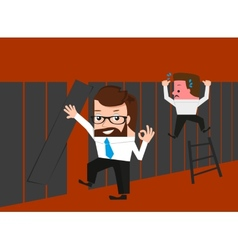 Lucky businessman knows easy route through fence vector