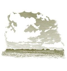 Woodcut cloud scene vector