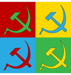 Pop art hammer and sickle icons vector