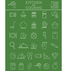 Kitchen and cooking outline icons set morning vector