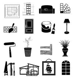 Interior design icons set vector