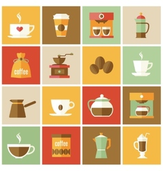 Coffee icons flat set vector