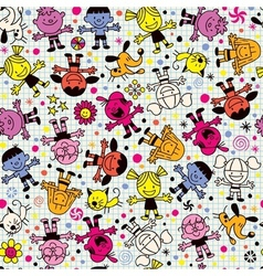 Happy kids pattern 2 vector