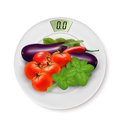 Scale with vegetables concept of diet vector