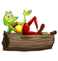 A frog lying above the trunk vector