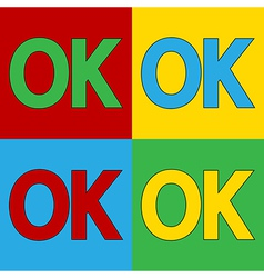 Pop art ok icons vector