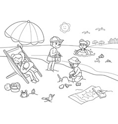 Children at the beach vector
