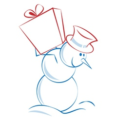 Christmas snowman carrying a present vector