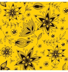 Yellow floral seamless pattern vector