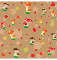 Berry mushrooms and autumn leaves vector