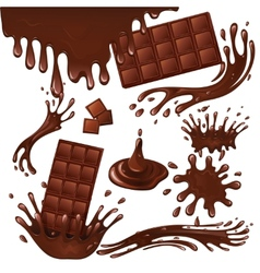 Milk chocolate bar and splashes vector
