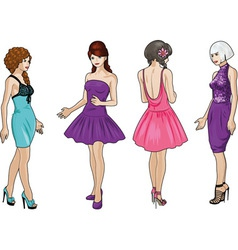 Beautiful girls in bright evening dresses 2 vector