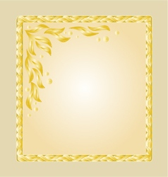 Golden frame with white gold leaves greeting card vector