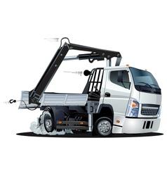 Cartoon lkw truck with crane vector