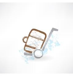Luggage on wheels grunge icon vector