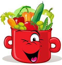 Pot full of vegetable vector