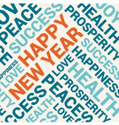 Happy new year card word cloud background vector