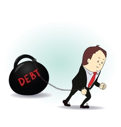Business man burdened with debt vector