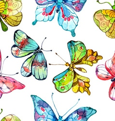Seamless watercolor background with butterfly vector