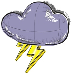 Cloud with lightnings weather icon vector