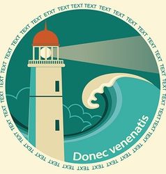 Lighthouse poster label for text vector